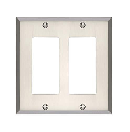 Brushed Nickel Double Rocker - MAYKKE Graham Double Rocker Light Switch Cover | Premium 2 Gang Solid Brass Wall Plate | 5 Color Finishes to Choose From | Brushed Nickel, ALA1020203