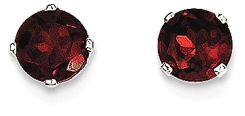 ICE CARATS 14k White Gold 5mm Red Garnet Stud Ball Button Earrings Birthstone January Prong Fine Jewelry Gift Set For Women Heart by ICE CARATS (Image #1)