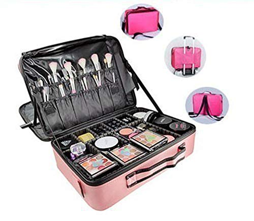 Women Cosmetic Bag Travel Makeup Organizer Professional Make Up Box Cosmetics Pouch Bags Beauty Case For Makeup Artist,Pink L 3 Layers 1