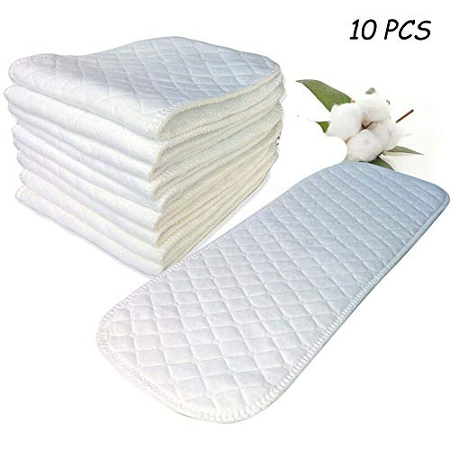 Swovo Baby Cloth Diapers 3 Layers Prefold Cloth Diapers Thick Changing Pad for Toddler Newborn Infant Absorbent 10 Count