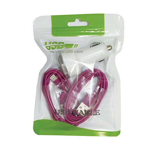 2 USB Cables & Car Charger Combo, Sync and Charge Cable & Car Charger for I Phone 5/5S/6/6S [12 Month Warranty] (Purple)