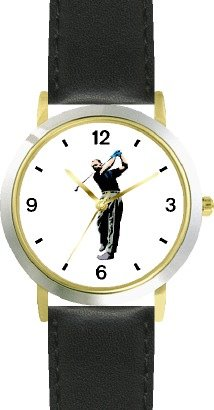 Watch Ladies Tiger Woods (Golfer Swinging - Golf Theme - WATCHBUDDY DELUXE TWO-TONE THEME WATCH - Arabic Numbers - Black Leather Strap-Women's Size-Small)