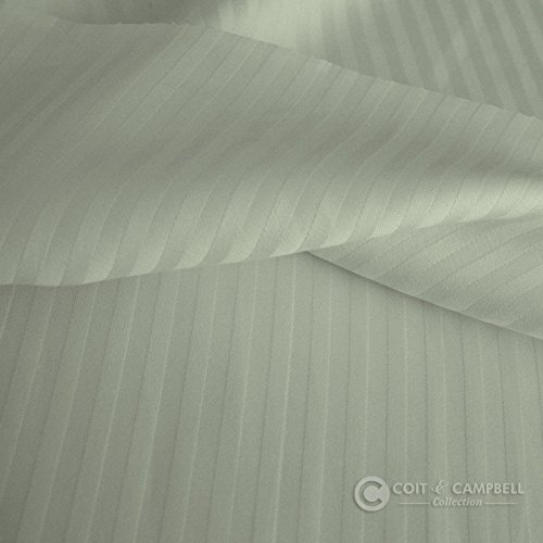 Coit & Campbell Premium Hotel Collection Stripe 500 Thread Count Deep Pocket 100% Cotton Sateen Sheet Set, Full (1CM) Light Silver Grey (with Light Green Tint)