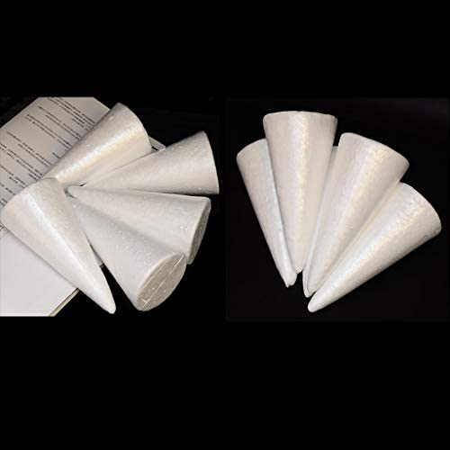Fityle 30 Pieces White Cone Shape Christmas Tree Styrofoam Polystyrene Foam Materials for Kids Crafts DIY Modeling Handmade Toys 150mm