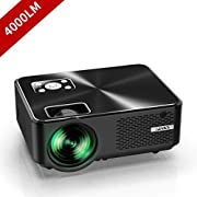 "#LightningDeal YABER Portable Projector with 4000 Lumen Full HD 1080P 200"" Display Supported, LCD LED Home & Outdoor Projector Compatible with Fire TV Stick, Smartphone, HDMI,VGA,AV and USB"