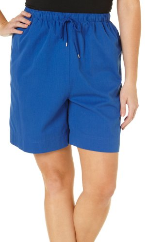 Coral Bay Plus Pull On Drawstring Shorts 1X Lapis Blue by Coral Bay