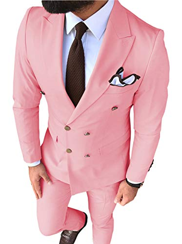 Men's Suit 2-Piece Double Breasted Groom Tuxedos Slim Fit Notch Lapel Tailcoat for Wedding(Blazer+Pants)(44,Pink)