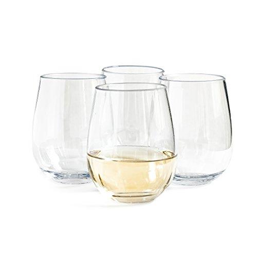 Wine Glassware Set - Premium Unbreakable Stemless Wine Glasses 16oz (Set Of 4) - Extra Durable - Reusable Shatterproof Tritan Plastic Indoor Outdoor Party Cups - Dishwasher Safe - Vinjoy Glassware