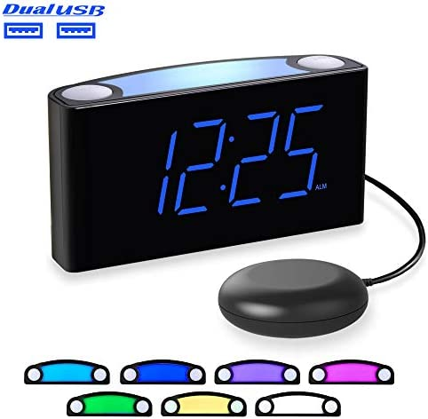 Loud Alarm Clock for Heavy Sleepers, Vibrating Alarm Clock with Bed Shaker, LED Digital Clock with 7 Colored Night Light, 2 USB Ports, 7 Large Display,Big Snooze, Alarm Clock for Bedroom Kids Senior