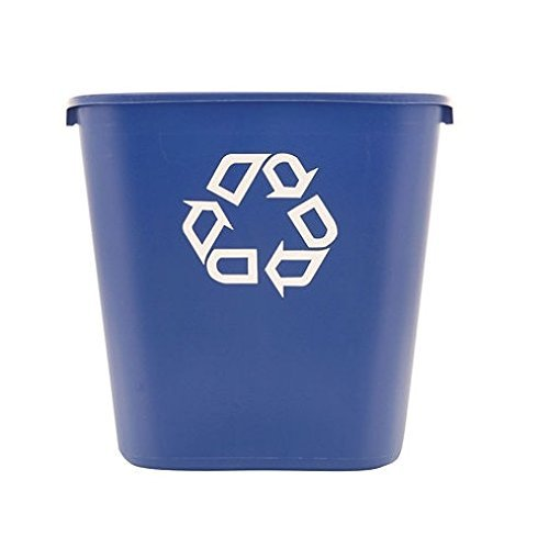 (Rubbermaid® Commercial - Medium Deskside Recycling Container, Rectangular, Plastic, 28 1/8 qt, Blue - Sold As 1 Each - Use beside wastebasket.)