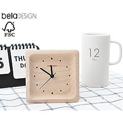 belaDESIGN Handmade Maple Wood Square Silent Table Alarm Clock