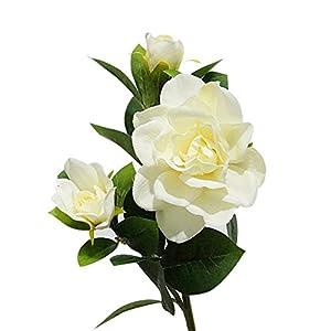 Move on 1Pc 3 Heads Silk Cloth Artificial Gardenia Flower Bouquet for Wedding Home Decor (Milk White ) 93