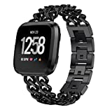 Fashion Clearance! Noopvan Fitbit Versa Watch Strap Band Metal, Premium Stainless Steel Double Row Cowboy Chain Alloy Watch Band Wrist Strap for Fitbit Versa Fitness Watch (Black)