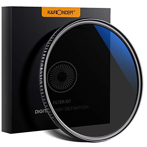 K&F Concept - 2 en 1 Filtro Polarizador y Filtro ND8 82mm Slim MRC para Camara Lente NO X Spot con Funda