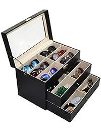3 Layer 18 Slots Eyeglass Sunglass Storage Box Display Glasses Textured Pattern