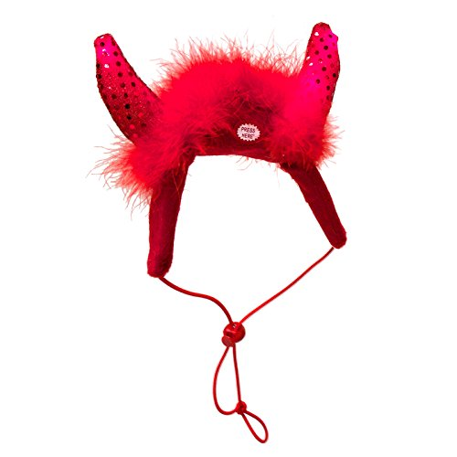 Devil Costume Dog (Outward Hound Kyjen  2963 Devil Horns Halloween LED Headband for Dogs Holiday Pet Accessories, One Size Fits All, Red)