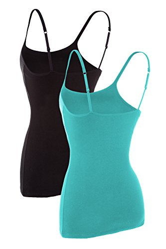 V FOR CITY Womens Active Basic Cami Cotton Tanks Top Camisole Base Layer Lingerie Aqua Black M by V FOR CITY (Image #1)