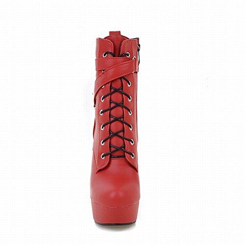 Mee Shoes Damen Plateau runde kurzschaft high heels Stiefel Rot