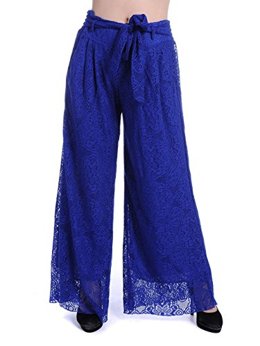 Anna-Kaci Womens Stretchy Solid Soft Flowy Hollow Out Lounge Trouser Pants, Blue, Medium/Large