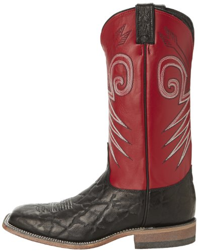 "Justin Boots Men's U.S.A. Bent Rail Collection 13"" Boot Wide Square Double Stitch Toe Leather Outsole,Black Wildebeest/Red Classic,6 D US"