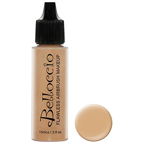 Belloccio's Professional Cosmetic Airbrush Makeup Foundation 1/2oz Bottle: Honey Beige- Medium with Golden, Peachy Undertones