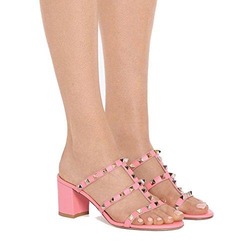 MRB02 Paio alto Donna Donna 1 Col Pantofola Sandali e alto da Jushee Tacco Ciabatte Sandali Sandali Scarpe Tacco Pu Con Con Punta aperta Pink E1wqpC