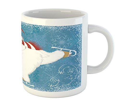 Ambesonne Bear Mug, Polar Bear with Christmas Hat and Scarf Ice Skating Ornamental Snowflakes and Swirls, Printed Ceramic Coffee Mug Water Tea Drinks Cup, Blue White