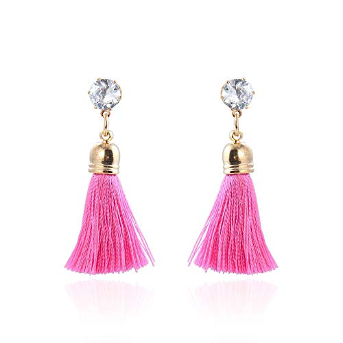 Women's Dangle Drop Short Tassel Earrings with Shell Pearl Black Rhinestone Top (682)