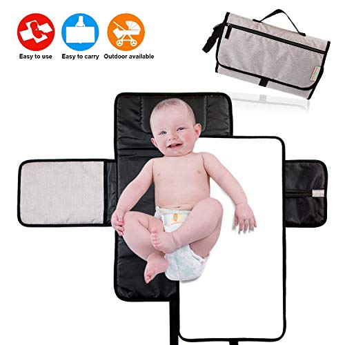 Portable Diaper Changing Pad for Baby 2 in 1 Waterproof, Lightweight and Foldable with Changing Pad Liner, Pockets, Pillow. Travel, Home Change Kit Liners Station Clutch Mat Two in One