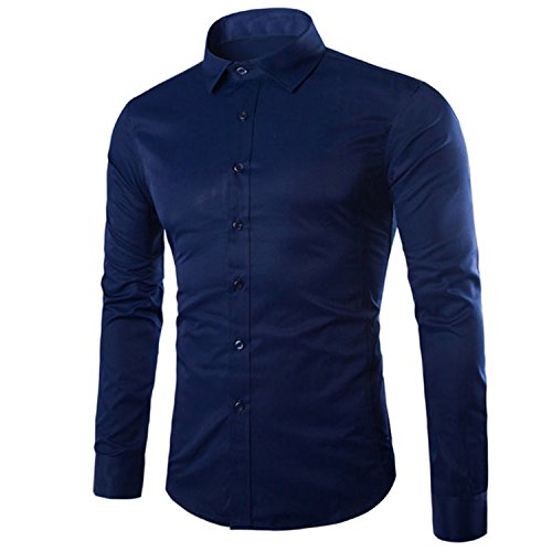 Special Beauty Handsome,Slim Men Shirt Long Sleeve Chemise Homme NEW Fashion Business Design Mens Slim Fit Dress Shirts Casual Camisa Social Navy Blue XL Cool (New Leather Lace Hampshire And)
