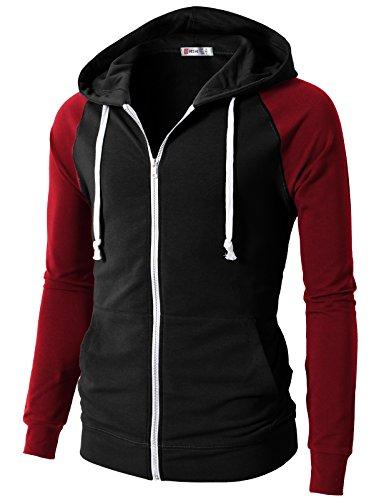 H2H Mens Casual Slim Fit Lightweight Raglan Sleeve Full Zip Hoodie BLACKRED US M/Asia L (CMOHOL023)