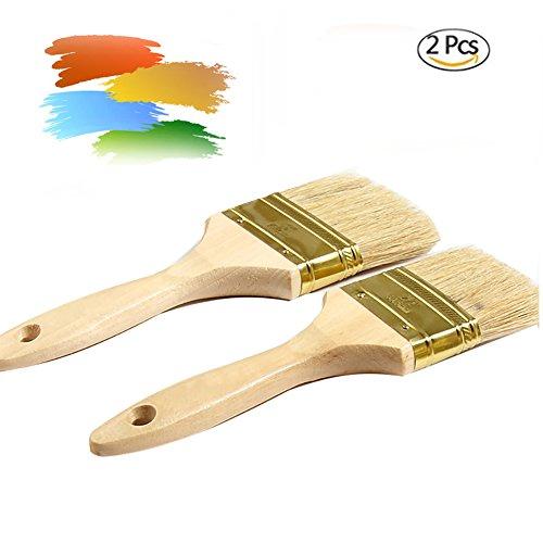 Sundarling Pack of 2 Wooden Handle Bristle Chalk Oil Paint Wax Brush,Anti-off Shedding (2