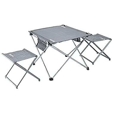 ChezMax Lightweight Super Stable Aluminum Camping Fishing BBQ Hiking Folding Table with Stools Camping tables&stools Gray