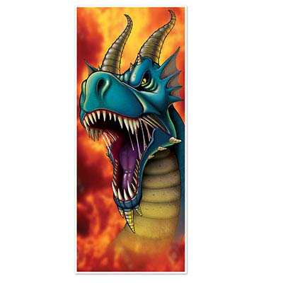 6' DRAGON Door Cover Banner & Dragon's Life Sticker Book (208 Stickers) - BIRTHDAY Party Decor DECORATIONS - Knights Fire Breathing - Medieval -