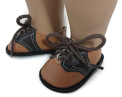 Dori's Doll Boutique Two-Tone Brown Oxford Saddle Shoes fit American Girl Doll and Other 18 Inch Dolls