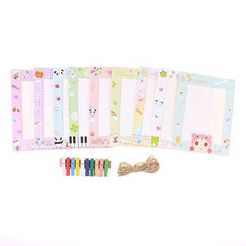 Paper Photo Collage Frame Sets for Wall with Clips and String Kids Room Decal DIY Picture Frames Mini Clothespins,4.56.1,9Pcs//Set XK0001
