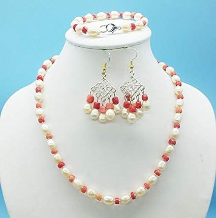 YMKCMC Collar 8-9Mm Rosa Natural Collar De Perlas Y Coral, Pulsera, Pendientes, Señoras Clásicas Conjunto De JoyeríaConjunto