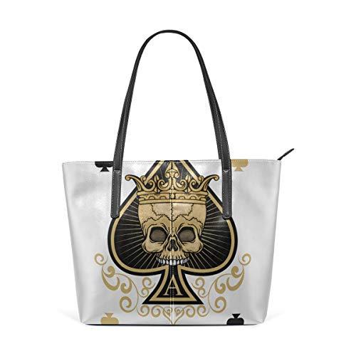 Laptop Tote Bag The Skeleton Of Spade Trump In Poker Large Printed Shoulder Bags Handbag Pu Leather Top Handle Satchel Purse Lightweight Work Tote Bag For Women Girls]()