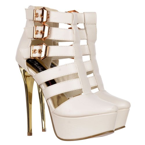 Onlineshoe Boot Stilettos Women's High Pu Out Cut Ankle Heel White Gladiator Shoes rqrIdw8R