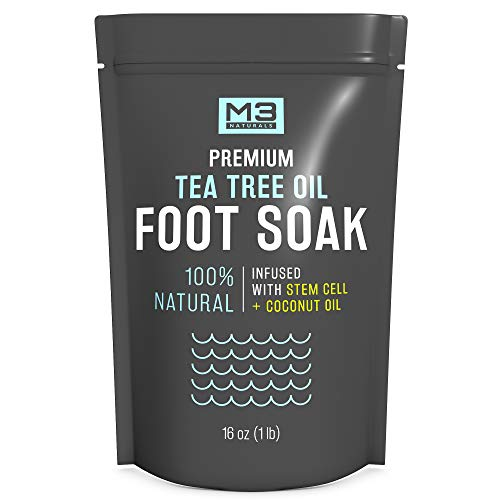 M3 Naturals Tea Tree Oil Foot Soak Infused with Coconut Oil and Stem Cell Epsom Salt Fights Toenail Fungus Athletes Foot Stubborn Foot Odor Treatment Scent Fungal Softens Calluses Toes Nails Sore Feet