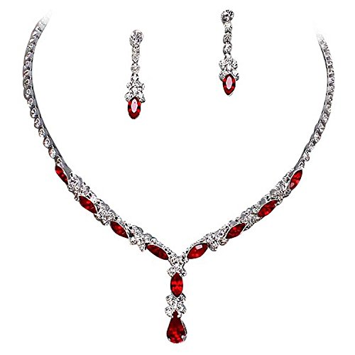Fancy Elegant Jewelry Collection Beautiful Y Drop Party Lite Red Bridal Necklace Earring Crystal ()
