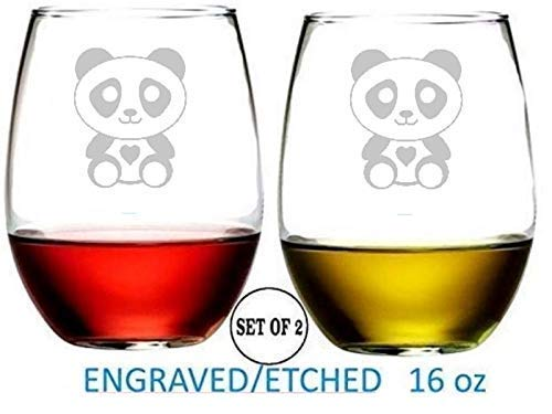 (Teddy Bear Stemless Wine Glasses Etched Engraved Perfect Fun Handmade Gifts for Everyone Set of 2)
