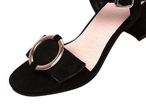 Sandales Ouverture Boucle Unie Couleur Correct Agoolar À Noir Femme D'orteil Talon YRw40xqz