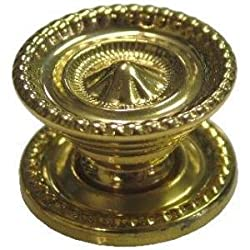 K-6A SMALL COLONIAL REVIVAL STYLE BRASS KNOB - 2 PC/PACK + FREE BONUS (SKELETON KEY BADGE)