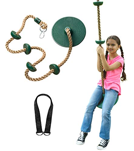 Jungle Gym Kingdom Tree Swing Climbing Rope with Platforms and Disc Swings Seat (Green, 21