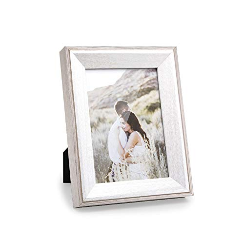 Afuly 5x7 White Picture Frame Wood Grain Rustic Photo Frames in Cream and Off White for Desk Wall Hanging