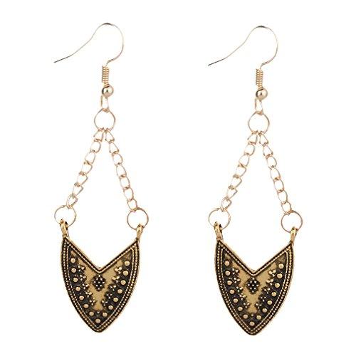 Yazilind Fashion Vintage Alloy Carving V Shape Type Dangle Drop Earring Women Girls Gift