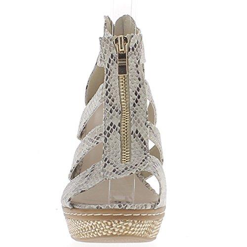 Grigio zeppa sandali tacchi 11 cm con ampie flange