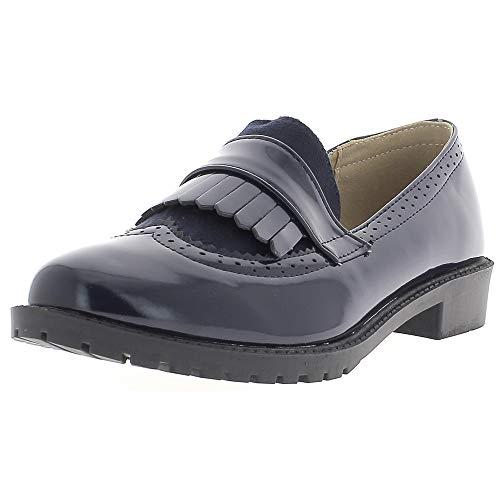 Derbies Mocasines Mujer Azul barnizada a Fringe y elevadores DE 2.5 cm: Amazon.es: Zapatos y complementos