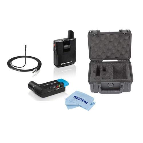 Sennheiser AVX-MKE2 Camera Mountable Lavalier Pro Wireless Set, Includes Bodypack Transmitter, Plug-On Receiver, MKE 2 Lavalier Mic, 1880-1930MHz - with SKB iSeries Injection Molded Case, Cloth ()